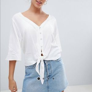 Bershka knot front tie blouse